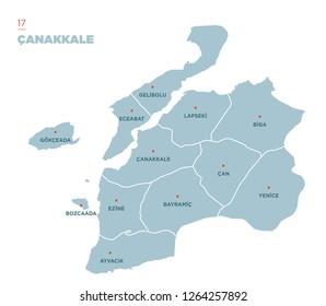 District map of Çanakkale Province, Turkey.
