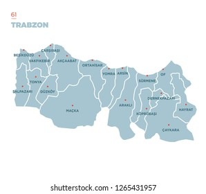 District map of Trabzon Province, Turkey.