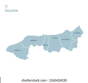 District map of Yalova Province, Turkey.