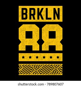 District of New York. Grunge design for t-shirt. Vintage print. Modern retro banner. Geometric pattern.