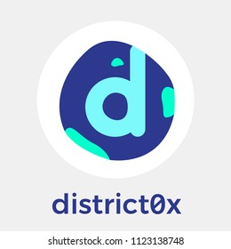 district0x (DNT) vector logo. A network of decentralized markets and communities and blockchain currency