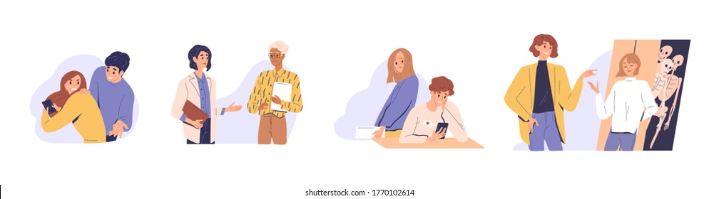 Distrust in people relationship. Concept of mistrust, betrayal, cheating on white background. Set of couples, business partners or colleagues talking, hiding, texting, jealous flat vector illustration
