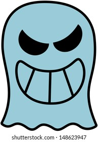 Disturbing blue ghost showing its big teeth while smiling maliciously