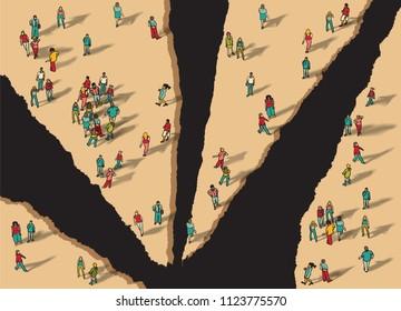Disunity separation individually group people flat isometric