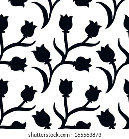 Ditsy floral pattern with small black tulips on white background. Seamless vector texture for print, spring summer fashion, textile design, fabric, home decor, flower shop website, wallpaper