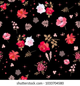 Ditsy floral seamless pattern with red and pink roses,bell and cosmos flowers and leaves of dandelion, viburnum and sagebrush on black background. Vector summer design. Print for fabric.