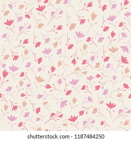 Ditsy floral seamless repeat of stylised silhouette flowers in light dusky pinks