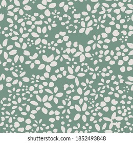 Ditsy flower seamless pattern. Simple floral texture. Flower silhouettes. Small meadow plants. Summer botanical background. For fabric and texture,