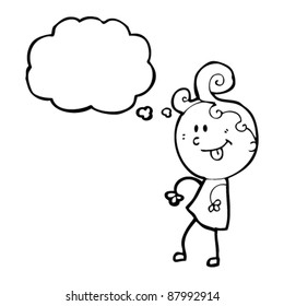 ditsy girl with thought bubble cartoon