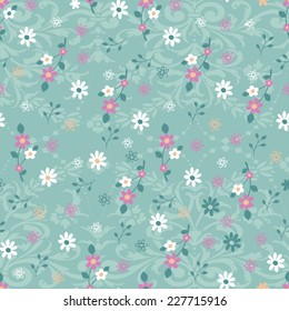 Ditsy Vector Daisy Print with Ornate Background - Seamless Repeat Wallpaper