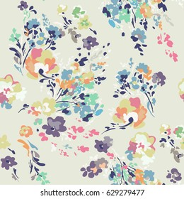 Ditsy watercolor style flowers - seamless background