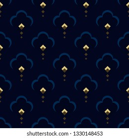 Ditzy floral motif peacock feather novelty pattern. Simple geometric all over design embosed effect. Small flowers print block for dress fabric, apparel textile, fashion garment, ladies swimwear.