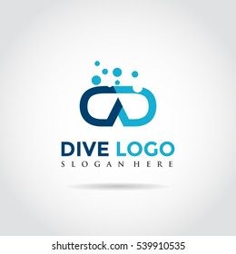Dive and buble Logo. DD Letter concept. Vector Illustrator eps.10
