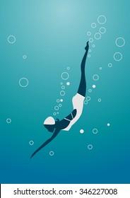 Diver Cartoon silhouette