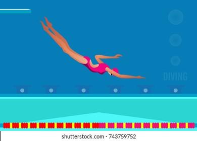 Diver diving in swimming pool.