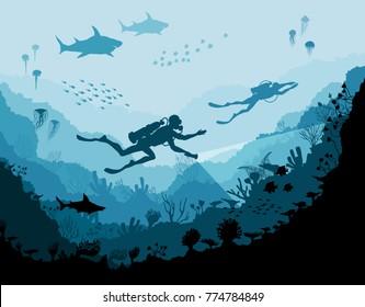 Diver explorers and reef Underwater wildlife