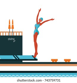 Diver jumping on Diving platform with swimming pool.