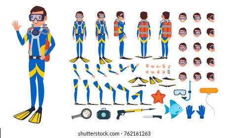 Diver Man Vector. Animated Character Creation Set. Under Water. Scuba Diver. Snorkeling Diving. Full Length, Front, Side, Back View, Poses, Face Emotions, Gestures. Isolated Flat Cartoon Illustration