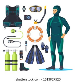 Diver in scuba diving suit, underwater snorkeling man. Oxygen mask and aqualung, rubber suit for swimming or wetsuit, water camera and watch, ring and light, knife. Diving sport and items, equipment