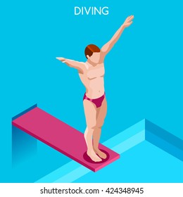 Diver swimmer trampoline springboard Sportsman Game Icon Set. 3D Flat Isometric Diving Swimming Pool Diver Sport People Competition Race. Summer Individual Sport Infographic events Vector Collection