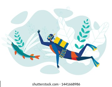 Diver Swimming in Ocean Flat Vector Character. Man Wearing Wetsuit and Professional Equipment Snorkeling. Scuba Diving Extreme Sport, Tourists Leisure Activity. Underwater Marine Life