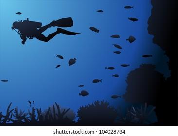 Diver underwater blue background
