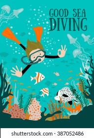 Diver With Underwater Plants And Tropical Fishes. Vector illustration.