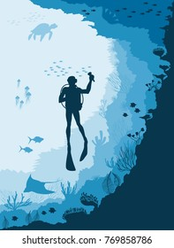Diver with Underwater wildlife, jellyfish, fish