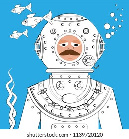 Diver in vintage diving equipment on the seabed among fish and marine plants. Vector illustration