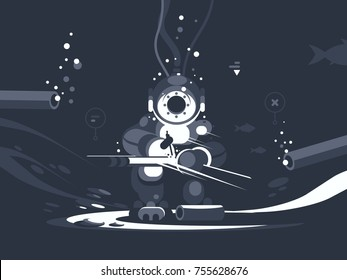 Diver welder at bottom repairs pipe. Man in wetsuit with tool. Vector illustration
