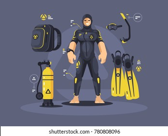 Diver in wetsuit and diving equipment, tank and flippers. Vector illustration