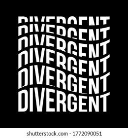 Divergent text with warp effect