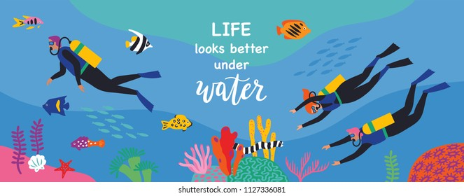 Divers swim over coral reef. Vector illustration. Horizontal banner.