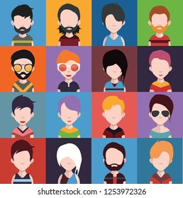 Diverse Avatars people icons with faces 2