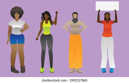 Diverse Black Women - Vector Illustration
