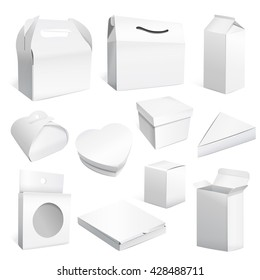 Diverse blank packages collection set. 3D illustration.