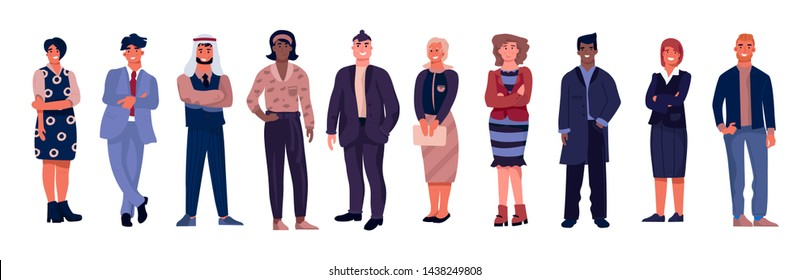 Diverse business characters. Office workers with equal opportunities, multicultural professional team. Vector cartoons illustration corporate business group