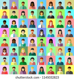 Diverse business people in flat design. Multi-ethnic businessman and businesswoman collage and colorful avatar set. Vector illustration.