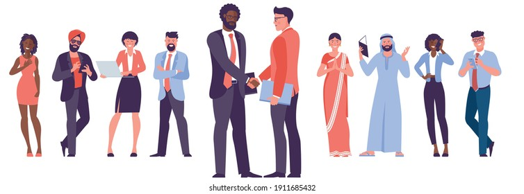 Diverse business people shake hands after completed the deal. Flat design vector element set for infographics, web site and mobile app design, ad and presentation.