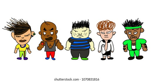 Diverse cartoon characters of bully, gangster, trouble maker, fighter or antagonists on white background