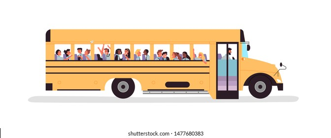 Diverse children group inside schoolbus for back to school concept or educational field trip with elementary students. Flat cartoon character kids on isolated white background.