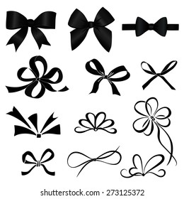 A diverse collection of black bow isolated on white background