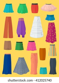 A diverse collection of skirts made in flat design