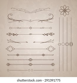 A diverse collection of vector dividers, bumpers, frames, ornaments. Floral elements