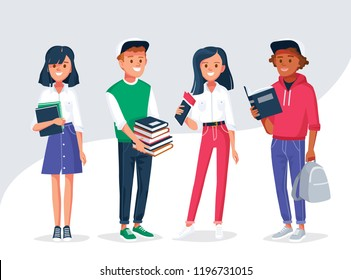 Diverse college or university students holding and reading books. Students different nationalities from different countries standing in line.  Vector illustration. Flat design