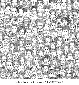 Diverse crowd of people - seamless pattern of 100 hand drawn faces of various ethnicities - black and white illustration