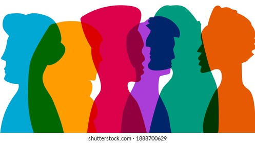 Diverse culture men and women silhouettes. Group of diversity multi-ethnic and multiracial people. Racial equality and anti-racism vector . Multicultural society concept. friendship of peoples