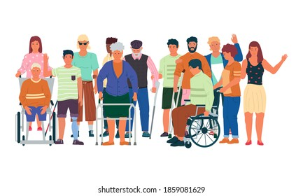 Diverse disabled people. Cartoon handicapped men and women with physical injuries, limited mobility. Treatment and rehabilitation, social support human disabilities. Vector health care illustration