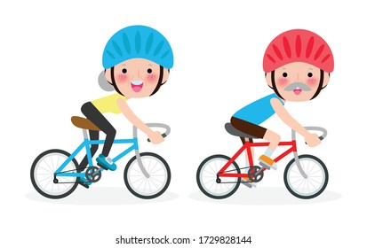 diverse Elderly couple riding bikes, Happy old man and woman riding bikes, Sports family concept Vector illustration isolated on white background