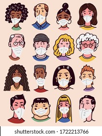 Diverse faces of people set. Human Avatars in surgical masks for Safety. Mens and women, grandparents and girls Collection. Hand drawn doodle sketch. Prevention of Flu and Disease.